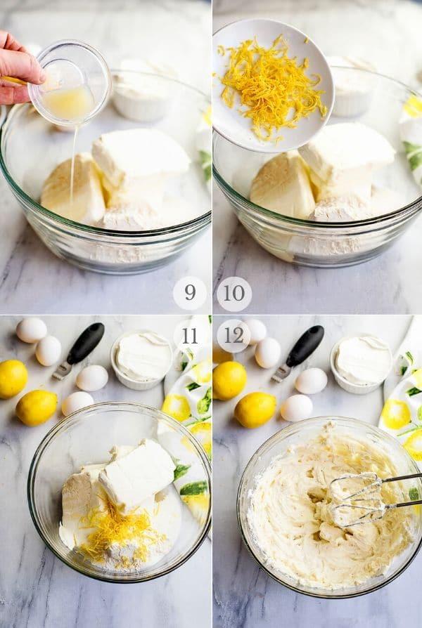 Recipe steps for making Lemon Cheesecake - 9-12