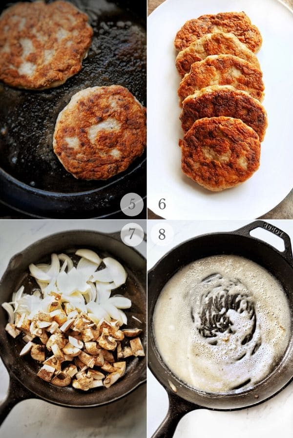 how to make Salisbury Steak (recipe steps photos): frying through making mushrooms and onions and starting the gravy