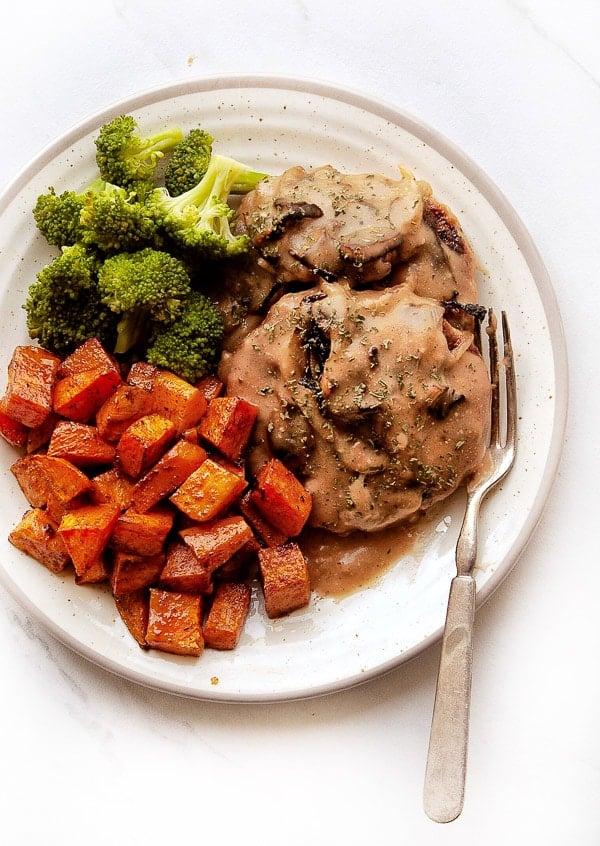 Salisbury Steak with gravy and vegetables