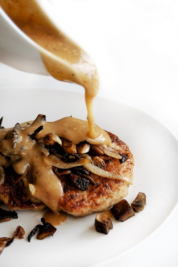 Salisbury Steak with gravy pouring