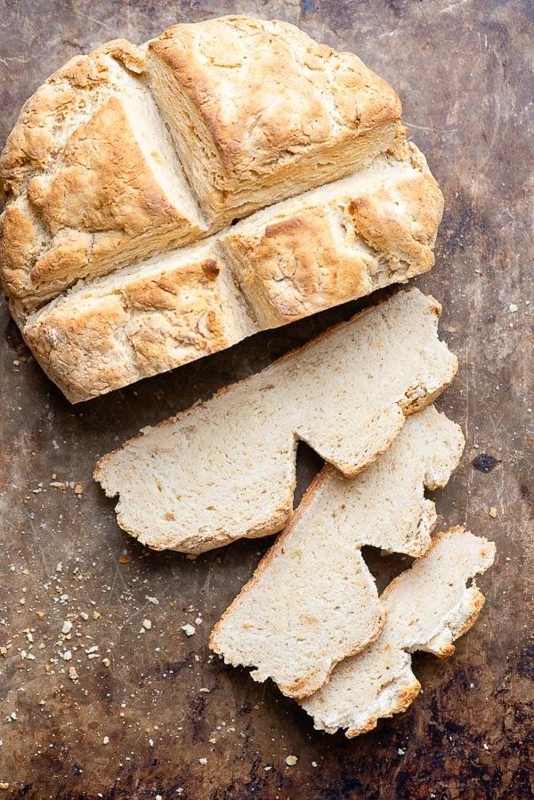 Sliced Irish Soda Bread freshly baked
