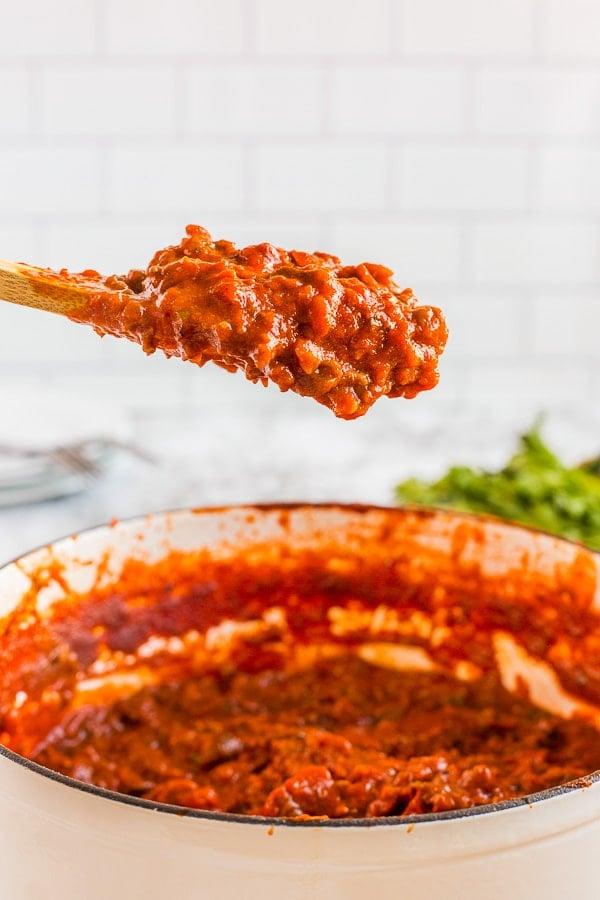 homemade spaghetti sauce spoonful