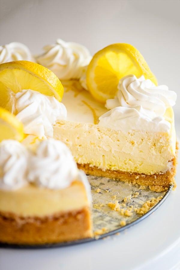 lemon flavored cheesecake slice