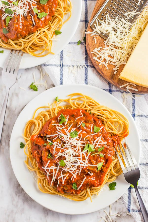 pasta sauce recipe on a plate of pasta