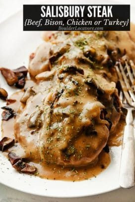 salisbury steak slathered with homemade gravy, mushrooms and onions