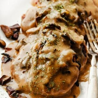 salisbury steak slathered with homemade gravy, mushrooms and onions