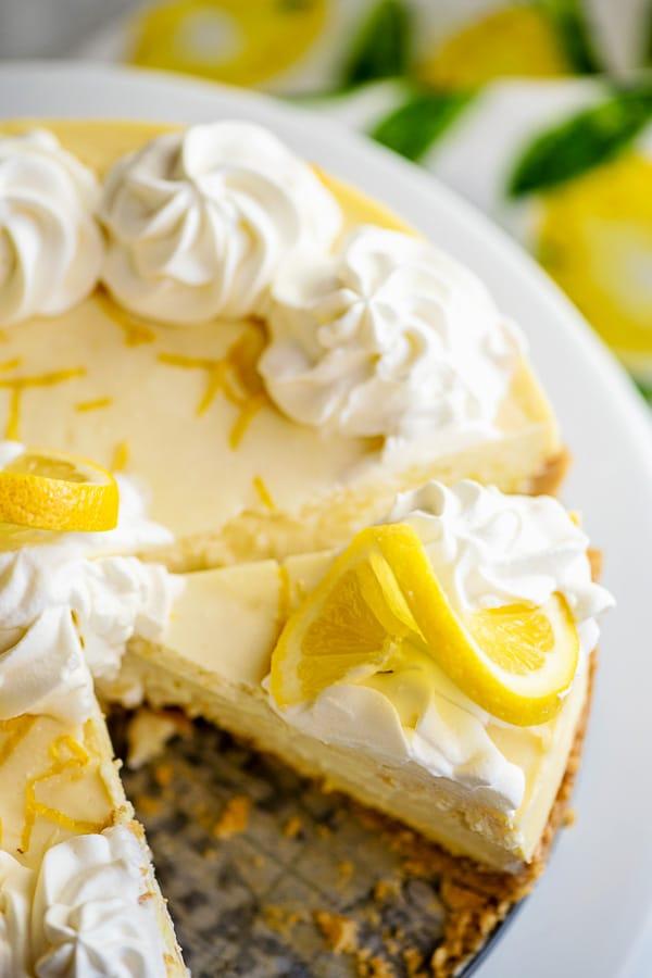 slices of lemon cheesecake