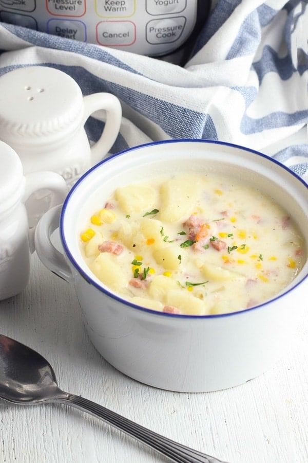Bowl of potato corn chowder bowl
