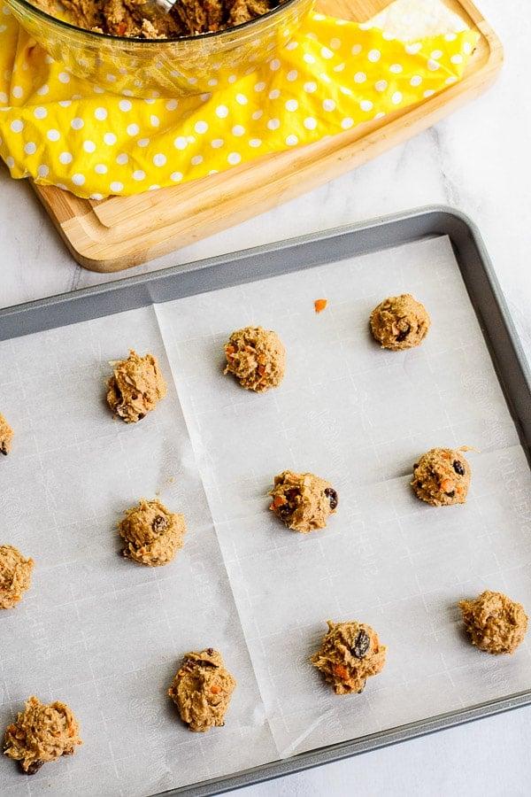 Carrot Cake Cookies on a baking sheet