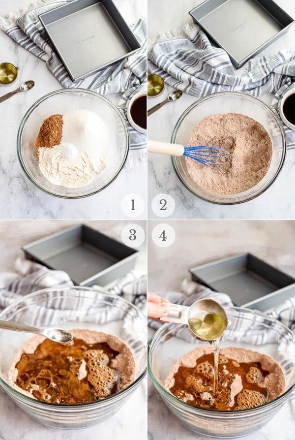 Espresso Crazy Cake recipe steps 1-4