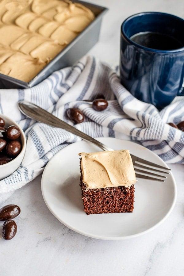 Espresso Wacky Cake slice on a plate