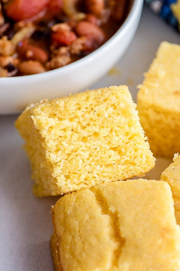 close up view of cornbread square from side