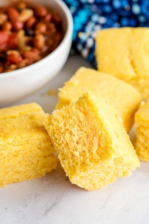 homemade cornbread squares