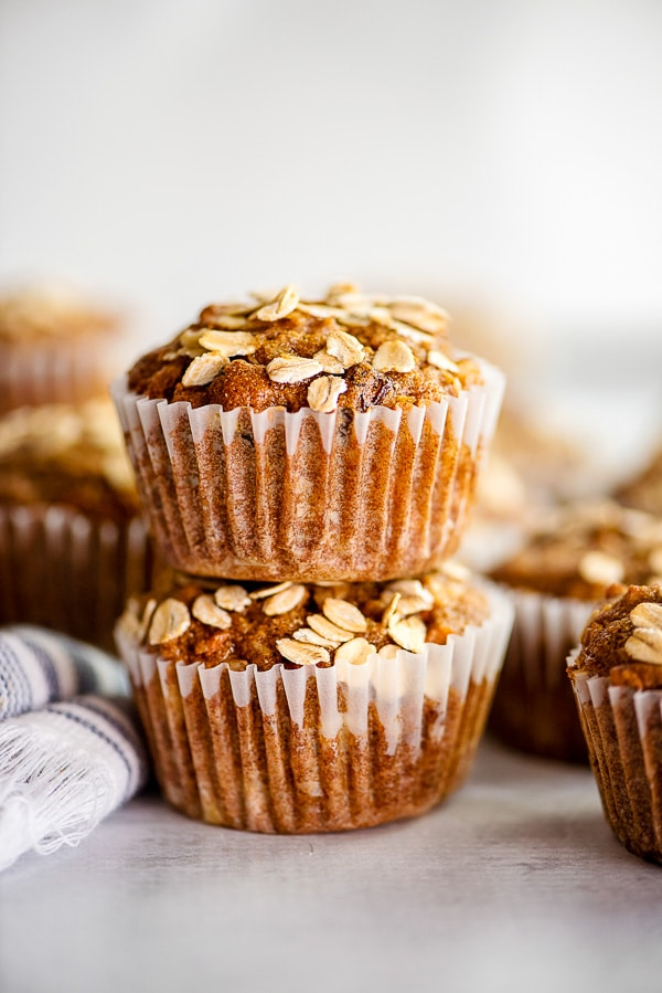 morning glory muffins stacked