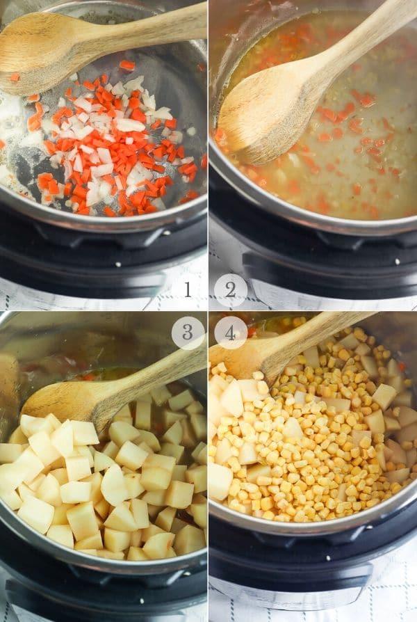 potato corn chowder recipe steps 1-4