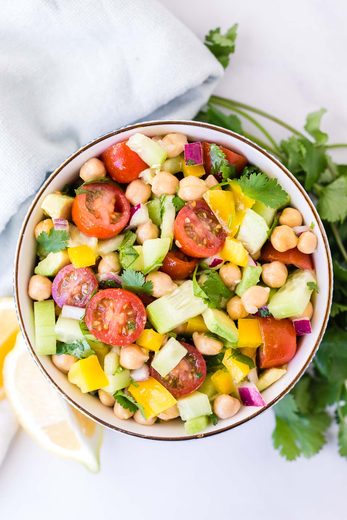 Chickpea Salad in bowl overhead