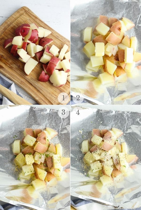 Grilled Potatoes recipes steps photos 1-4 (cutting the potatoes and layering them with spices on foil)