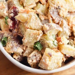 creamy Instant Pot Potato Salad in a white bowl