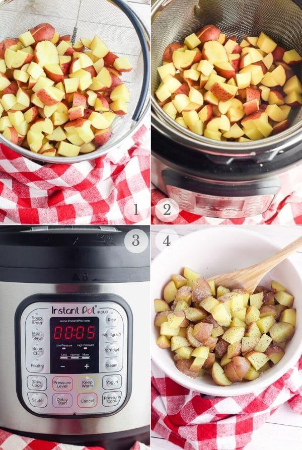 Instant Pot Potato Salad recipe steps photos 1-4