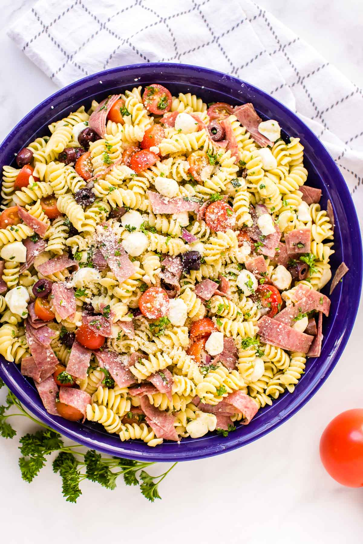 Italian Pasta Salad in a blue serving bowl
