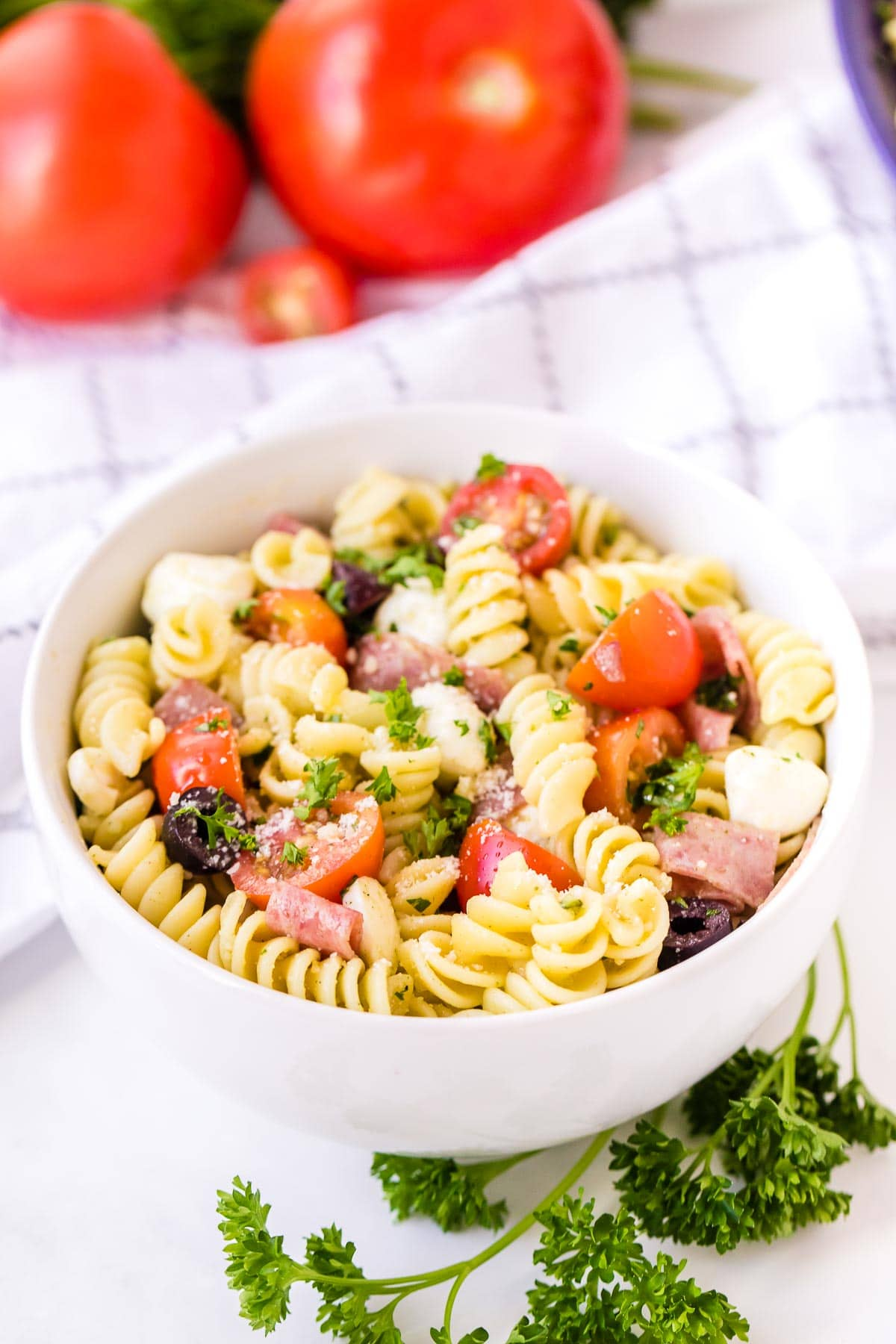 Italian Pasta Salad in a single serving bowl