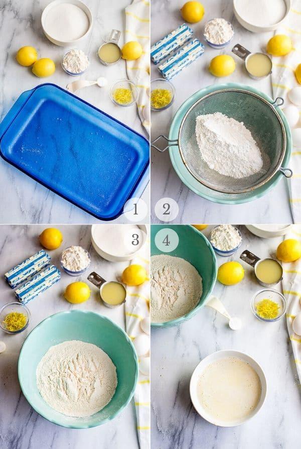 Lemon Bars recipe steps photos 1-4