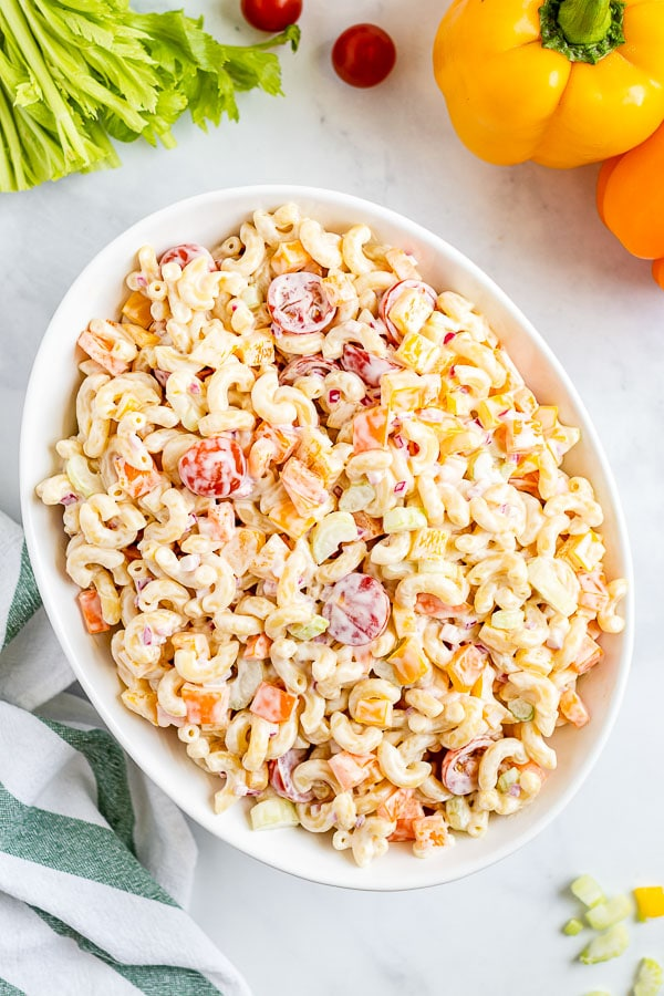 Macaroni Salad in a serving bowl