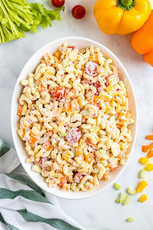 Macaroni Salad in a white serving bowl overhead