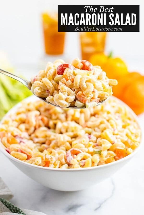 Macaroni Salad in a bowl and spoon title image