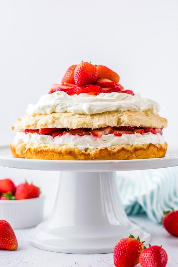 Strawberry Shortcake on cake pedestal