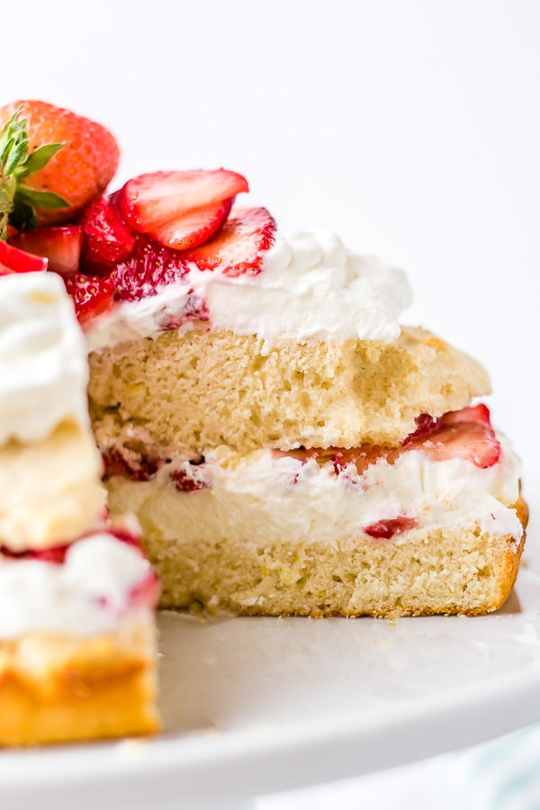 Strawberry Shortcake slice into middle