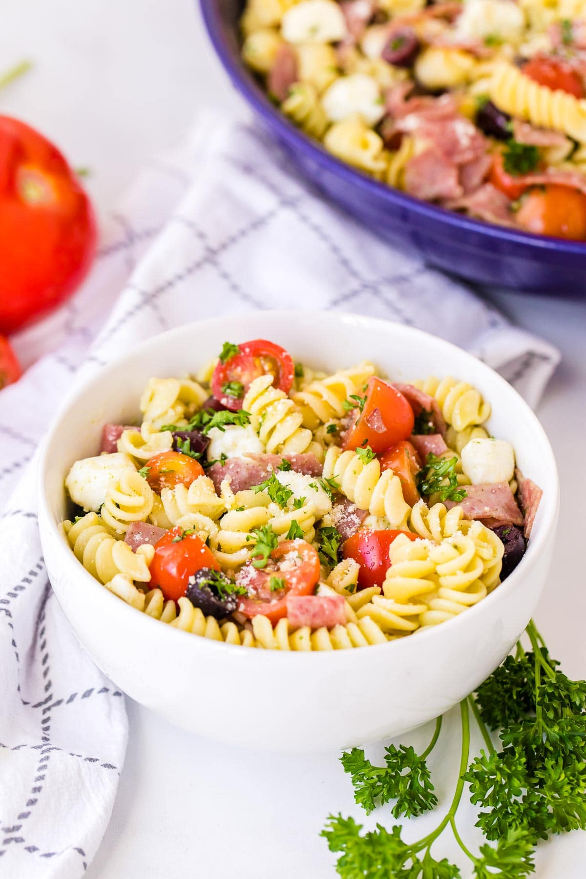 individual bowl of Italian Pasta Salad