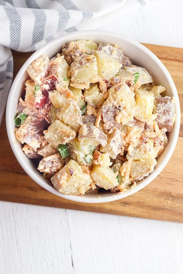 instant pot potato salad overhead