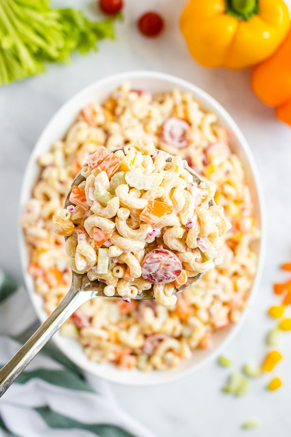 serving spoon of Macaroni Salad