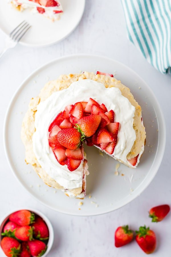sliced Strawberry Shortcake from above