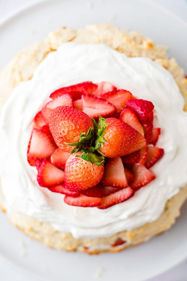 strawberries on top of strawberry shortcake
