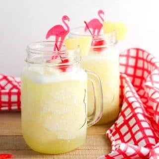 Frozen Lemonade in a glass mugs with recipe title