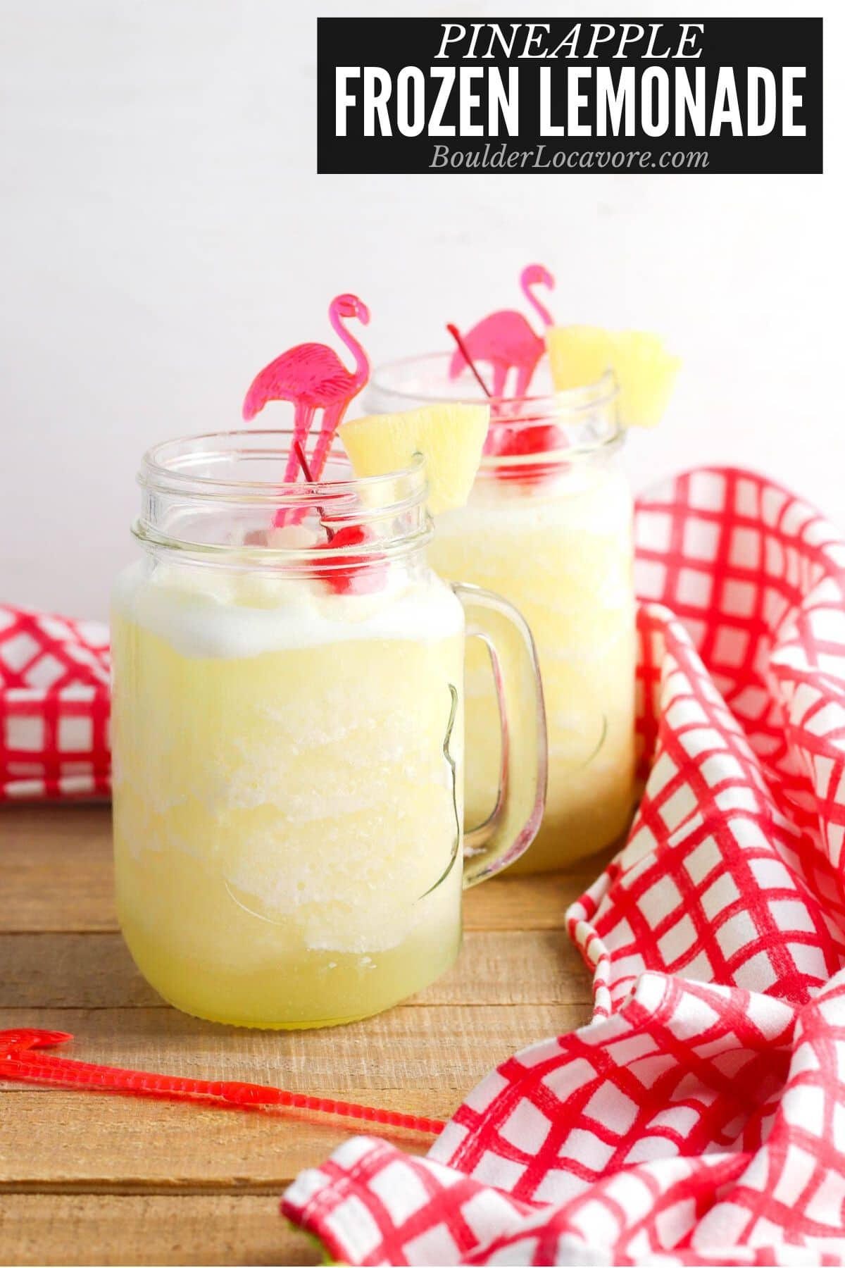 Frozen Lemonade in a glass mugs with recipe title