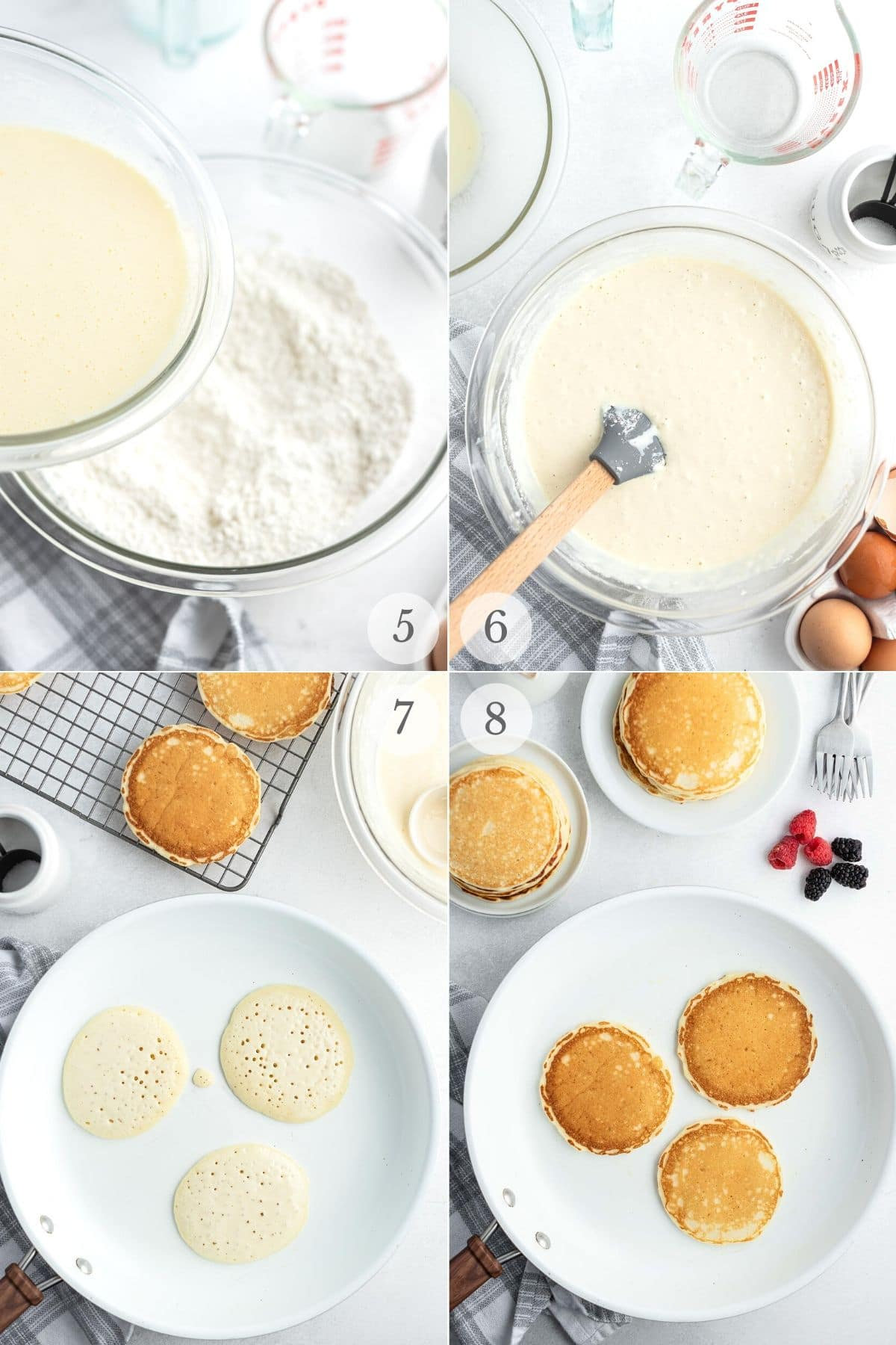 buttermilk pancakes recipe steps 5-8 making batter and cooking pancakes