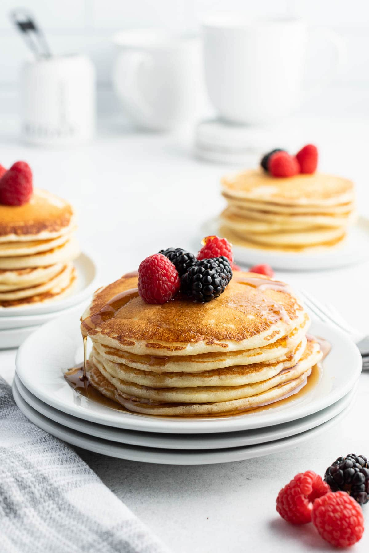 buttermilk pancakes stack with berries