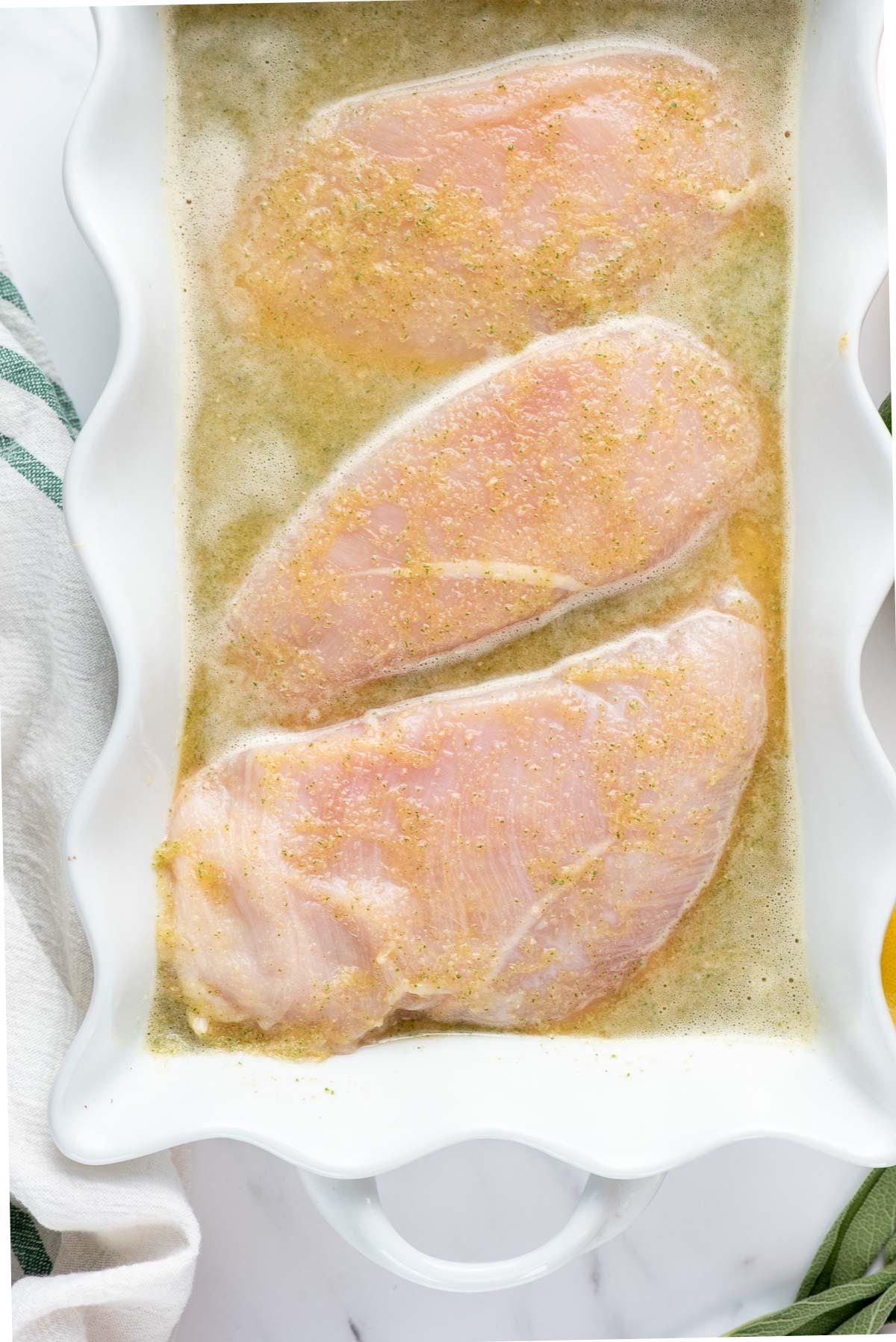 chicken breasts in marinade