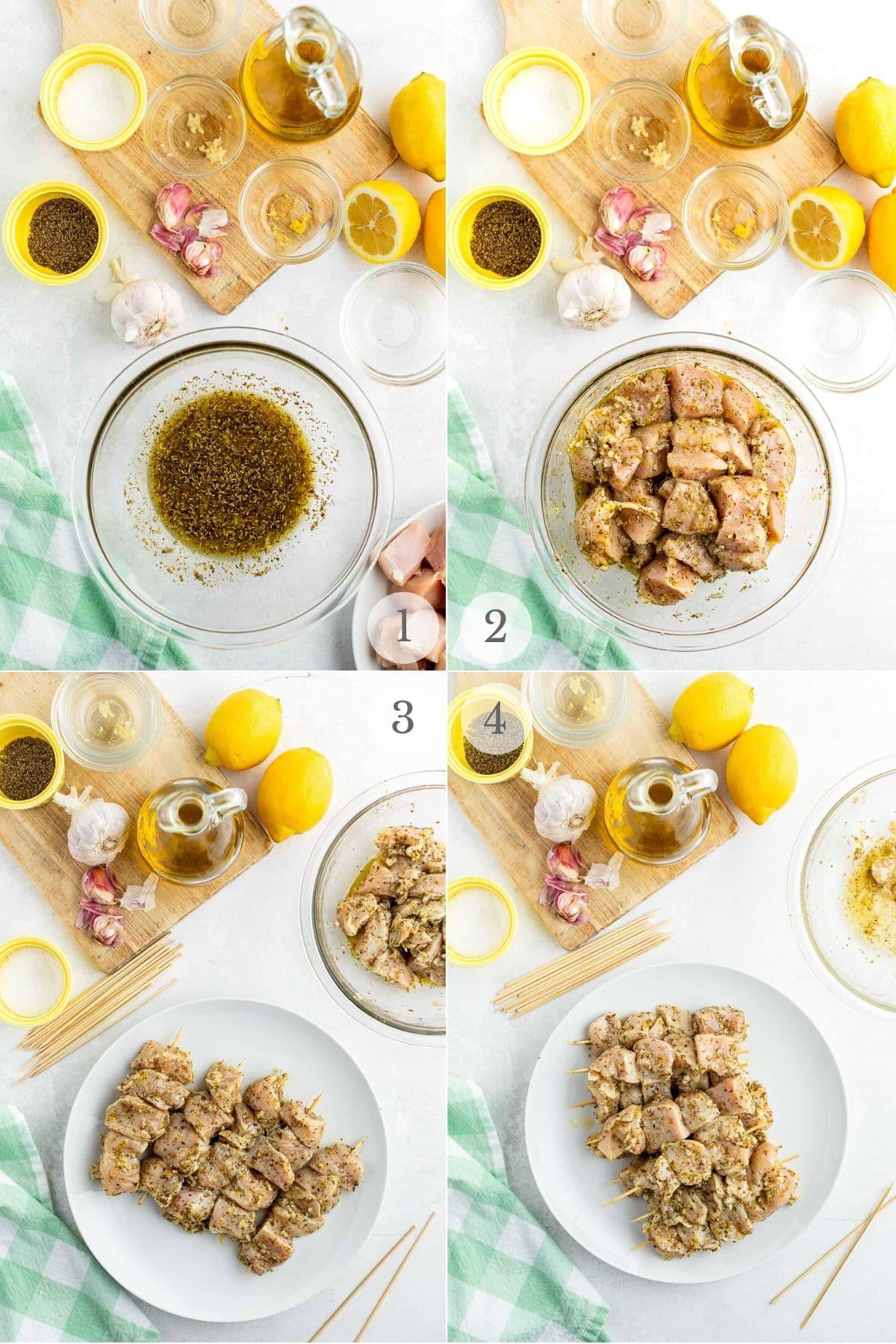 how to prepared chicken souvlaki recipe process photo collage