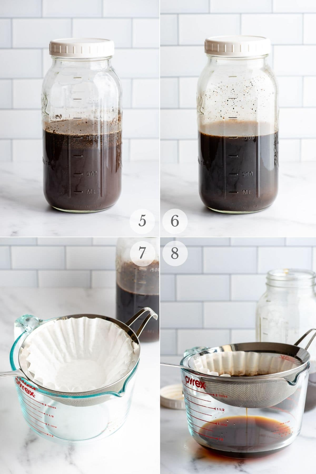 cold brew coffee recipe process steps 5-8 (brewing and straining)