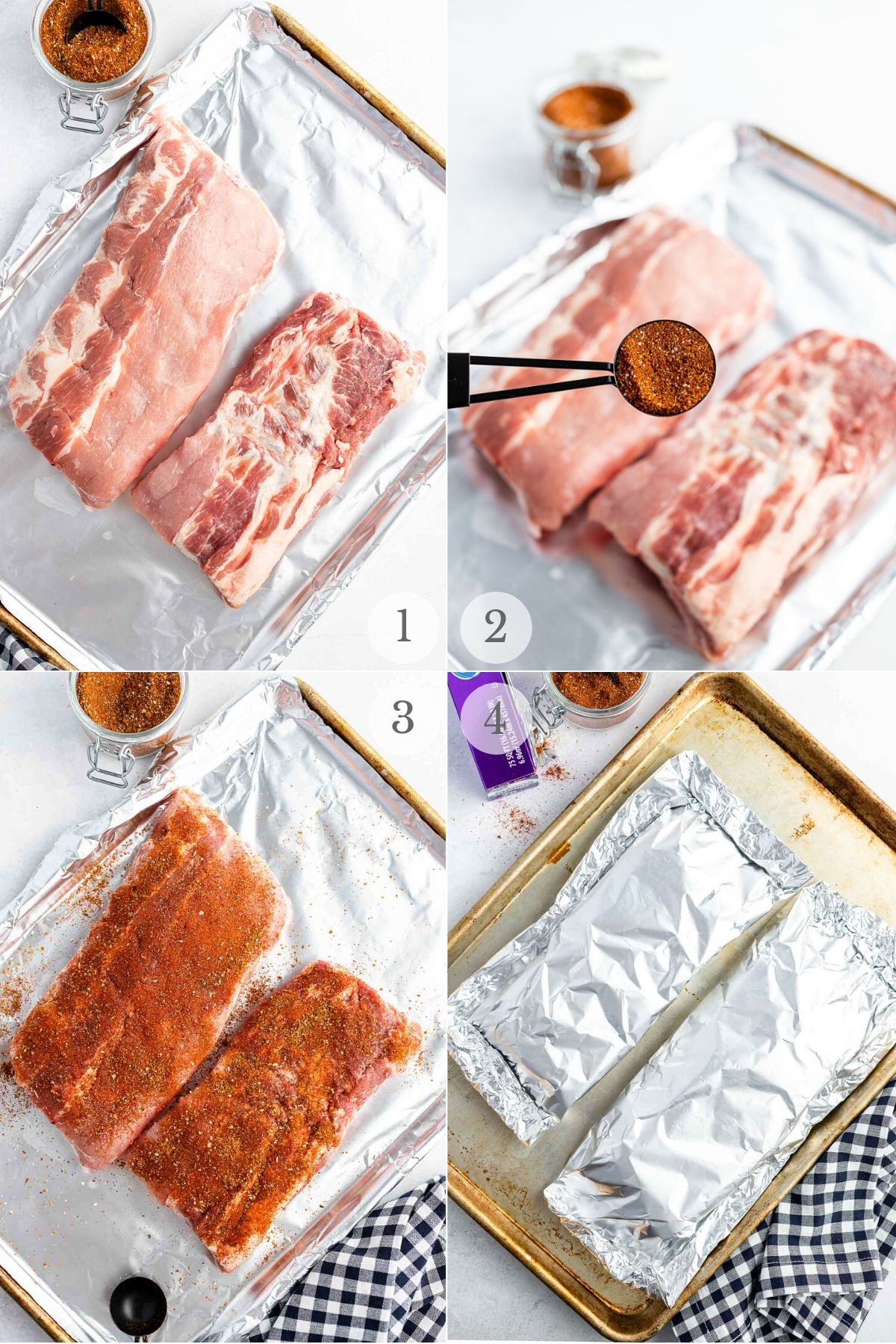 how to make oven baked ribs recipe steps collage adding dry rub and sealing in foil