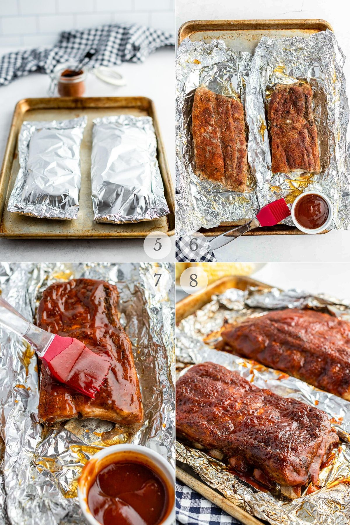 how to make oven baked ribs recipe steps collage basting with BBQ sauce and cooking