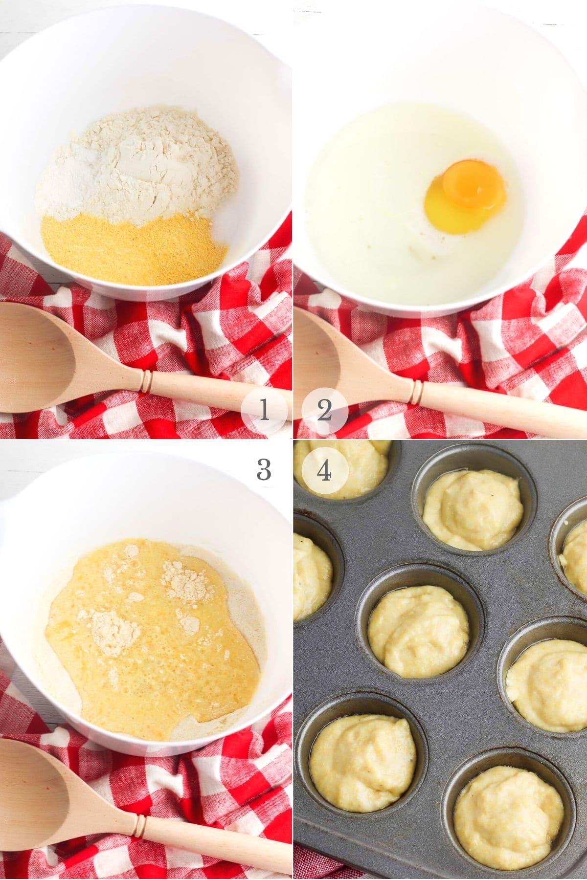 mini corn dog muffins recipe steps collage 1-4 (making batter)