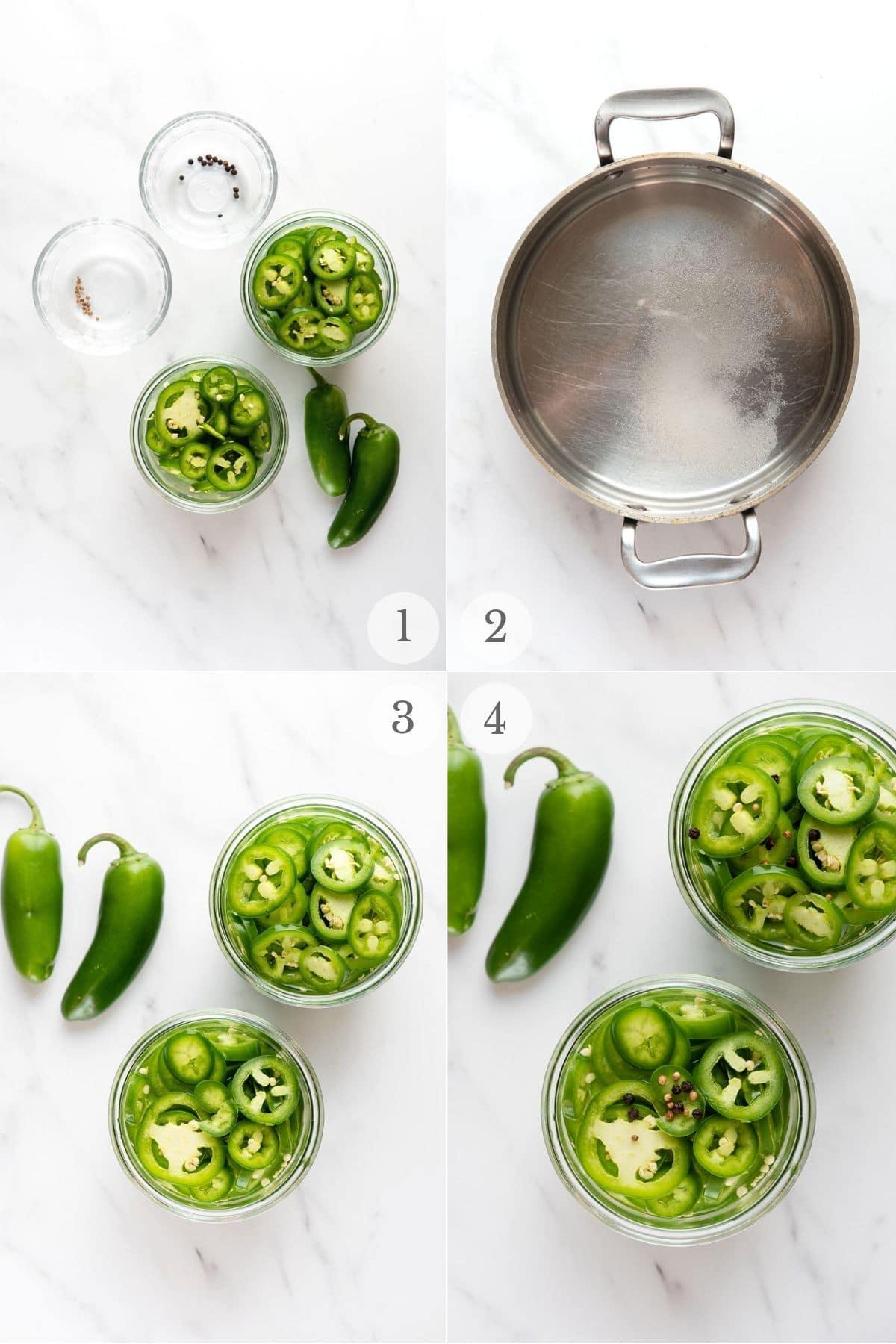 pickled jalapenos recipe steps collage