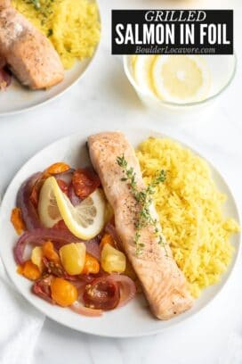 Grilled Salmon in Foil on plate with rice title image