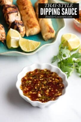 Thai Dipping Sauce in a white ruffle edges bowl title image