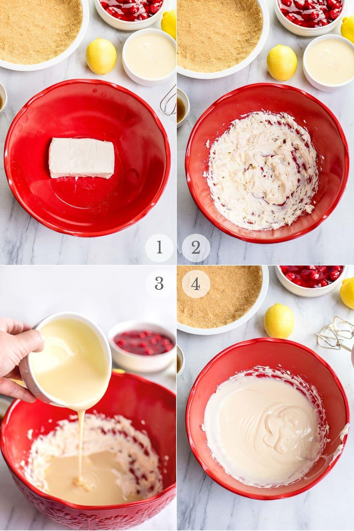 cherry cream cheese pie recipe steps 1-4